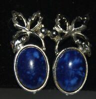 Vintage Ocean Blue Stone Silver Tone Metal Clip On Earrings Costume Jewelry
