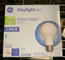2 Pack GE Daylight LED Classic Shape Bulbs 10 Watt 75 Watt Replacement A21 1060L
