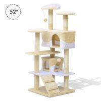 "52"" Cat Scratching Tree Kitten Play House  Activity Center Pet Furniture Beige"