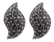 CLIP ON EARRINGS - gunmetal grey stud earring with grey crystals - Willow GM