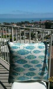 Pair of Indoor Outdoor Patio Chair Pillow Cover beach Decor Coastal Chic 22 x 22