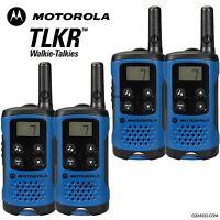 4 x Motorola TLKR T41 2 Way Walkie Talkie Set PMR 446 Radio Kit - Blue Quad Pack