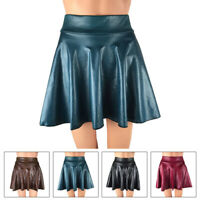 Women's Wet Look Skirt Skater Faux Leather High Waist Mini Flared Casual Party