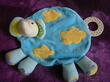 doudou plat elephant jaune  bleu vert anneau dentition  grelot BABYSUN