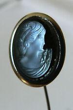 Vtg Silver Tone Metal Glass Stone Intaglio Cameo Hat Pin Brooch