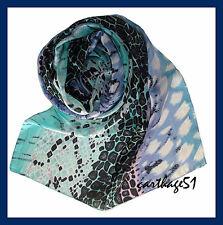Etole  écharpe foulard en 100 % SOIE   Bleu Azur Turquoise Noir