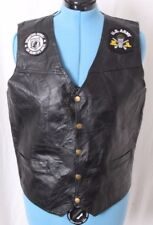 Navarre Snap Stitched Leather US Army Patches Motorcycle Biker Vest Men's L