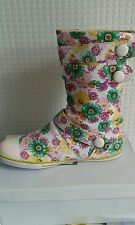 Womens ladies new multi colour flower design canvas flat boot u.k size 5