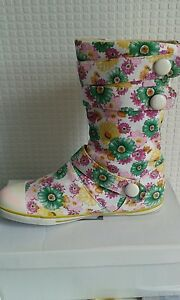 Womens ladies new multi colour flower design canvas flat pull on boot u.k size 3