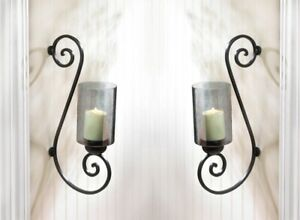 Set of 2 Candle Wall Sconces Black Iron Scrollwork with Smoked Glass Cup
