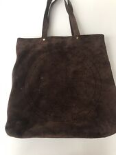 Tory Burch Large Dark Brown Perforated Suede Tote