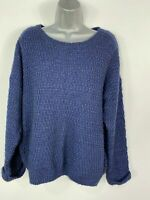 WOMENS NEW LOOK UK 16 MIDNIGHT BLUE KNITTED ROUND NECK CASUAL JUMPER PULL OVER