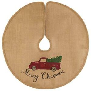 """MERRY CHRISTMAS Red Vintage Truck Christmas Tree Skirt, 24"""" Dia, Country House"""