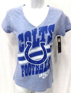 Indianapolis Colts Football Ladies Fitted Short Sleeve V-Neck Blue