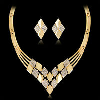 EG_ Women Gold Plated Rhombus Necklace Earrings Rhinestones Jewelry Set Sanwood