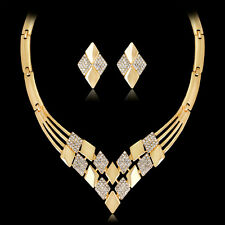 CW_ Women Gold Plated Rhombus Necklace Earrings Rhinestones Jewelry Set Sanwood