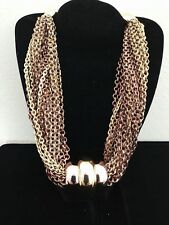 CHUNKY MONET GOLD & COPPER TONED MULTI (20) CHAIN CHOKER NECKLACE