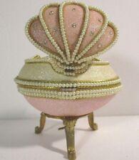 Real Goose Egg Hand-Decorated Jeweled Glitter Trinket Box Seashell Music Box