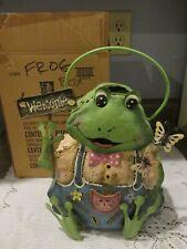 Vtg Homco Home Interiors Tin Spring Garden Boy Frog Candle Holder Original Box
