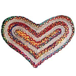 HEART RAG RUG DOORMAT FAIR TRADE MULTI-COLOURED NATURAL recycled fabric jute NEW