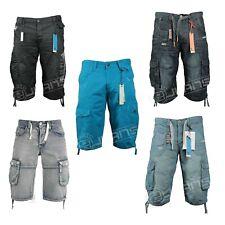 Enzo Mens Cargo Shorts Summer Holiday Denim Shorts Knee Length Jeans Half Pants