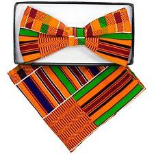 African Print Bow Tie With FREE Hanky  Kinte Kente Neck Wear Black History