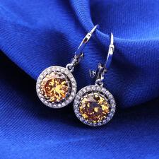 Women Round Yellow/White Swarovski Crystal Silver GF Dangle Earrings Jewellery