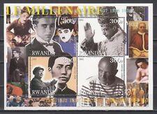 Rwanda, 2001 Cinderella, 30`s sheet. Picasso. Chaplin, Mao & Pope Pius.