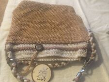 NEW THE SAK  Crochet Purse Bag Tote Handbag Tan Cream Brown  Bamboo FAST SHIPPIN