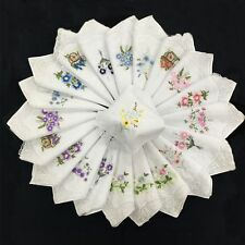 6pcs 100% Cotton Embroidered Napkin Handkerchief Ladies Floral Assorted Cloth