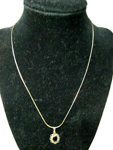 """14k Yellow Gold Serpentine Necklace (18"""" x 1 mm) w/Gold Onyx Pendant- wt. 2.75 g"""