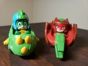 Disney PJ Masks GEIKKO, OWLETTE  2 Die Cast Vehicles Lot Frog Box Pair