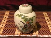 "Asian Porcelain Satsuma Ginger Jar / Urn Pheasant Floral Design 5 3/8""x4"""