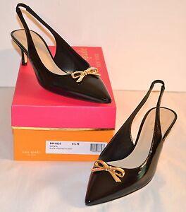 New $328 kate spade New York Salvia Black Patent Leather Slingbacks Kitten Heels