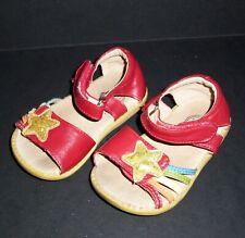 Livie & Luca Toddler Girls Size 6 Nova Star Sandals Red Leather Rainbow Hook/Loo