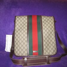 AUTH. $950 BRAND NEW GUCCI TAN GG LARGE CANVAS LEATHER CROSS BODY MESSENGER BAG