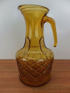 Vintage Retro Yellow AMBER GLASS PITCHER JUG Made in Italy