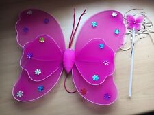 PINK BUTTERFLY WINGS AND WAND HEN PARTY NIGHT FANCY DRESS ACCESSORY x 10