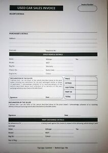 Used Car Sales Invoice Pad Receipt Book A4 for Selling Motor Vehicle
