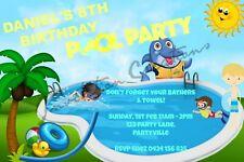 Diy Print Custom Pool Party Summer Water Boy Birthday Party Invitations