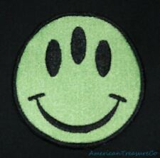 Embroidered Green Three Eyed Smiley Happy Face Mutant Alien Patch Iron On Sew On