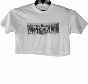 Vintage 80's Crop Top Exercise Workout T Shirt Single Stitch Graphic Print