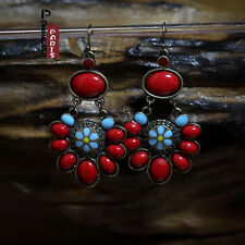 Boucles d'Oreilles Ethnique Rouge Fleur Turquoise Original Vintage Cadeau EE 1