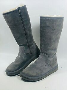 UGG Australia Grey Classic Tall Leather-Sheepskin S/N 5683 Women's Boots Size 7