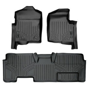 SmartLiner All Weather Floor Mats for F150 SuperCab without Flow Console Black