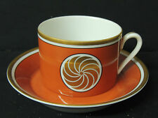 Vintage Fitz & Floyd Medaillon d'Or Orange Flat Cup and Saucer Rare Excellent