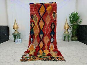 "Handmade Vintage Moroccan Boucherouite 3'3""x8'3"" Geometric Red Orange Rug"