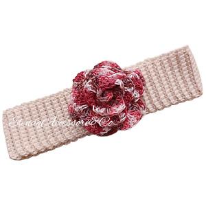 Fascia capelli neonata con rosa sfumata - 100% cotone - uncinetto