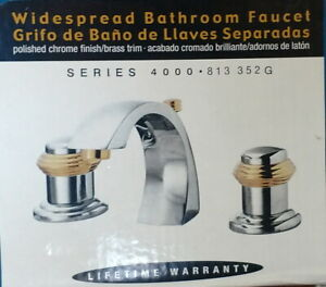 2 New PEGASUS Polished Chrome Bathroom Faucet with Brass Trim - Matched Pair