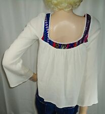 Billabong Blouse Boho Hippie Mexi Baja Embroidered Bell Sleeve Knit Top M Medium